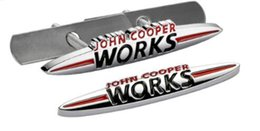 Wholesale John Cooper Stickers - 3D Metal John Cooper Works Front Grille Emblem Badge JCW Logo Auto Car Sticker Decal For Mini Cooper R50 R52 R57 R58 R6 F55 F56