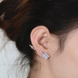 Wholesale Wholesale Bow Arrows - Silver Gold Color Summer Style Punk Clear Rhinestone Bow and Arrow Stud Earring for Women xr