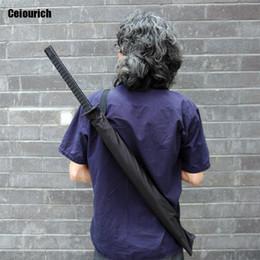 Wholesale Wholesale Sword Umbrellas - Japanese Swordsman Popular Straight Rod Line Sunshade Umbrella Waterproofing Black Sword Shape Umbrellas Rain Tool Umbrellas-007