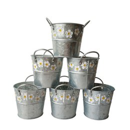 Wholesale Free Cheap Planting Pots - Free shipping Wholesale Cheap Round Galvanized metal tub bucket with 2 handle Zinc Fretwork Urns iron pot