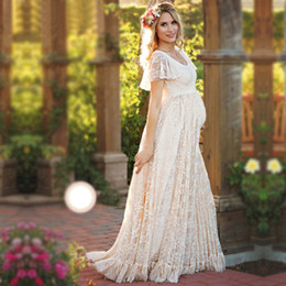 Wholesale Ball Gowns For Pregnant Women - Maternity Dress For Photo Maternty Photography Props Short Sleeve Sexy Lace Pregnant Dresses 2017 Women Elegant Long Dress Plus Size S-4XL