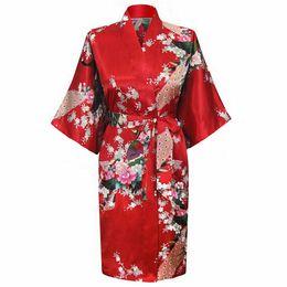 Wholesale Ladies Night Gowns - Wholesale- Promotion Red Ladies' Silk Sleepwear New Summer Lounge Night Gown Novelty Kaftan Printed Bathrobe Size S M L XL XXL XXXL