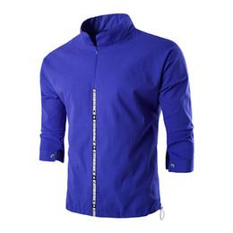 2020 vestido formal mandarin Atacado-New Arrival Mens gola mandarim Formal Camisas Men Three Quarter Sleeve Slim Fit camisa Casual Mens cor sólida vestido de camisa AF005 vestido formal mandarin barato