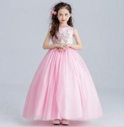 eleganti abiti rosa dei bambini Sconti Abiti da cerimonia nuziale di Tulle  della ragazza del fiore 09e8e705cd5