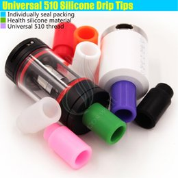Wholesale Ego Silicone - Top 510 Colorful Silicone Drip Tips Disposable Rubber Universal thread Test dripper Individually pack RDA RBA ego atomizer tank Mouthpieces