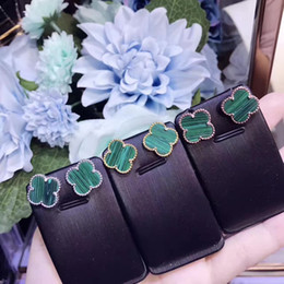 Wholesale D Letters - new design 925 sterling silver france brand Emerald Four Leaf Clover learrings letter stamp earring fit for style Emerald jewelry have logo