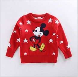 Wholesale Mouse Jumpers - Retail Cute Kids Sweaters 2017 New Spring Autumn Boys Girls Cartoon Knitted Mickey Mouse Sweatshirts Children Stars Printed Pullover