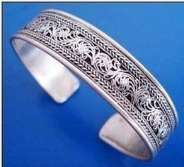 Wholesale Men S Link Bracelets - hot Sell! Tibet silver Handcrafted dragon Head Men`s bracelet 8 inches
