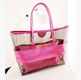 Wholesale Handbag Fluorescent - Women Transparen Shoulder Bag Fluorescent PU Handbag Lucency Lash Package High-capacity Totes Multi-function Shoulder Hobos 7 Color