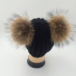 Wholesale Pom Pompom - Double Real Raccoon Fur Hat Pom Poms Winter Hat Women Wool Knit Beanie Bobble Ski Cap Pompom Beanies Gorros Thick Female Caps W1