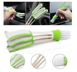 Wholesale Air Conditioning Vent Accessories - Car Diy New Plastic Car Air Conditioning Vent Blinds Cleaning Brush For Series Part Accessories Duster Brush Cleaner Green Color