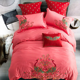 Wholesale Peacock Comforter Set Full - Papa&Mima Beautiful Peacock Print Red Queen King Size Bedding Set Embroidery Technics Egyptian Cotton Duvet Cover Sets