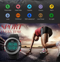 Wholesale Plastic Stop - SKMEI Men Digital LED Alarm Waterproof Wristwatches Monitor Waterproof Digital Watch For Men Back Light Stop Watch 1111
