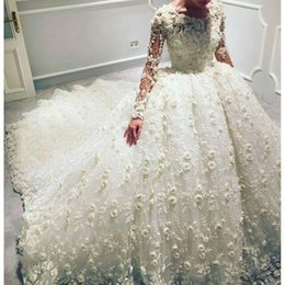 Wholesale Ball 3d Model - Luxury 3D Floral Appliqued Wedding Dresses With Long Sleeves Jewel Neckline Bridal Ball Gowns Court Train Tulle Beaded Wedding Dress 2017