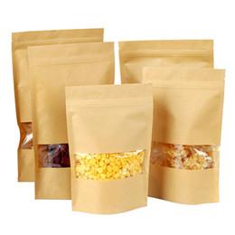 Wholesale Envelope Window - 20pcs kraft Paper Food Gift Bags with Window Self Sealing Envelope Shopping Bag KT0065