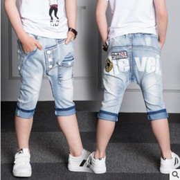 Wholesale Trouser Jeans For Kids - Jeans Shorts for Boy Summer Embroidery Batman Denim Kids Boys Jeans Trousers Harem Pants Big Boys Pants Kids Clothing
