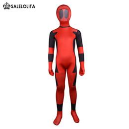 Superhero completo online-Disfraz de Deadpool para niños Kids Red y Black Body completo Lycra Spandex BodySuit Superhéroe para niños Deadpool Zentai Suit Quality