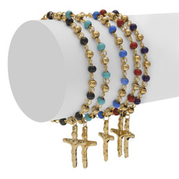 Wholesale Jesus Cross Bracelet - Men Women Stainless Steel Jesus Cross Pulseras Rosary Bracelets Gold Bead Bracelet Fashion Hip hop Jewelry 5 Color 18cm