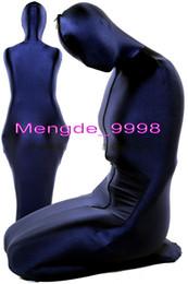 Traje de lycra azul oscuro online-Disfraces de saco de dormir de momia unisex Traje de traje de momia de lycra spandex azul oscuro Disfraz de saco de dormir de lujo Unisex traje de cosplay de Halloween M081