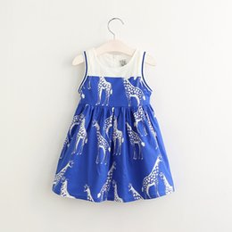 Wholesale Deer Print Dress - Baby Girls Cotton Cartoon Dresses 2017 Kids Girls Print Deer Fashion Dress Girl Spring Ruffle Dress Children's wholesale Clothing