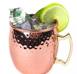 Wholesale Brass Mug - 2017 new copper plating Moscow Mule Mug Handmade of 100% Pure Copper Brass Handle 18.6 Ounce in stock LLFA