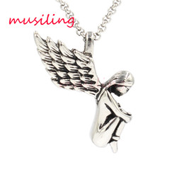 Wholesale Mens Jewelry Wings - musiling Jewelry Angel Wing Stainless Steel Pendants Necklace Chain Pendulum Charms Reiki Amulet Fashion Charms Mens Jewelry