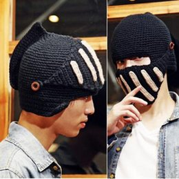 Wholesale Knit Mask - New men fashion black roman knight protects face wool caps gladiator's mask handmade outdoor cycling ski knitting hats wholesale