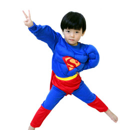 Wholesale Boys Superman Halloween Costumes - cosplay Q228 4-8 years kids S-XXL Muscle superman costume children boy girl halloween costume the spiderman Masquerade party clothing Marvel