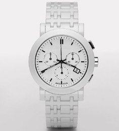 Wholesale Quartz Chronograph White Ceramic Watch - New Mens Swiss White Ceramic Chronograph Watch BU1770 1770 Gents Wristwatch