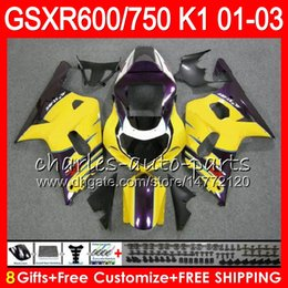 Wholesale Suzuki K1 Yellow - 8 Gifts 23 Colors Body For SUZUKI GSX-R600 GSXR600 GSXR750 01 02 03 gloss Yellow 8HM63 GSX R600 R750 K1 GSXR 750 600 2001 2002 2003 Fairing