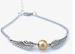 Wholesale Snitch Charms - Golden Snitch Pocket Bracelet Quidditch Ball Antique Silver Wings Vintage SteamPunk Fashion Movie Jewelry Men Women Wholesale