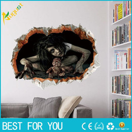 Wholesale Movie Wall Poster - New Ghost Banshees Vampire Cracked Wall Stickers Halloween Decor Wallpaper Poster Horrible Maneating Girl Wall Applique Decal