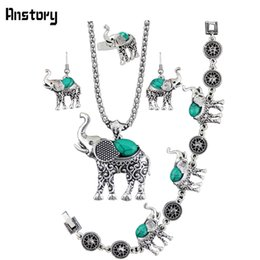 Wholesale Antique Jade Rings - Elephant Pendant Stone Jewelry Sets Necklace Bracelet Earrings Ring For Women Vintage Antique Silver Plated Gift TS205