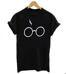 Wholesale Tshirt Glasses - 2017 New Womens Lightning Glasses Printed T-shirt Tees Harajuku Tshirt Plus Big Size S-2xl