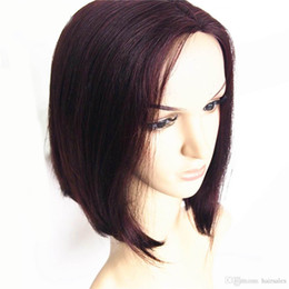 Wholesale Wine Black Short Wig - Hair Products 99J Red wine Short Bob Wigs 14inch Machine Made Lace Front Straight Human Hair Wig for Blacks Women