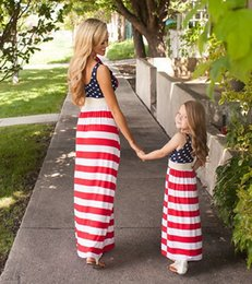 Wholesale Flag Clothes - 2017 Mother and daughter dress Dots stripes Flag mother daughter matching dresses Clothes Girls slim sleeveless long dresses Kids Sundress