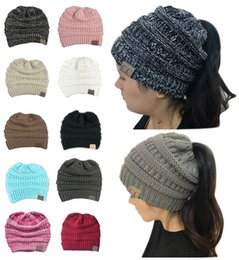 Wholesale Blue Pony Tail - Popular 10 Colors Women CC Ponytail Caps Winter Warm Hat Back Hole Pony Tail Knitted Beanie for Sports