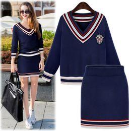 Wholesale Geometric Skirts - Wholesale- 2016 Europe brand women Navy black white high stretch sweater v-neck sweater and skirt 2 piece set women ensemble jupe et haut