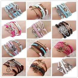 Wholesale Faith bracelets charm friendship jewelry for Unisex Sliver plated Infinity owl towel charm bracelets for charity