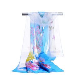 Wholesale Flower Silk Scarf - Women Chiffon Shawl Beachwear Spring New 2017 Fashion Women Silk Scarf Chiffon Scarf Shawls Butterfly and big Flower Print