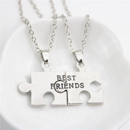 Wholesale Long Best Friend Necklaces - New Jewelry 2pc Set Fashion Best Friends Pendant Necklace Splicing Silver Plated Puzzle Confidant Friend Long Friendship Necklaces