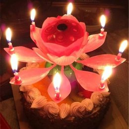 Wholesale Lotus Flower Led Lights - New Lotus Music Candles LED Lotus Candle Light Birthday Gift to Kids Lotus Petal Wedding Birthday Party Flower Music Candle Style