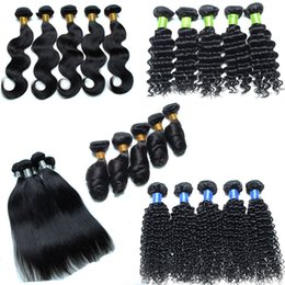 Wholesale Cheap 5pcs Curly Hair - Cheap brazilian hair bundles 8-30inch Body Deep Wave Kinky Straight Curly 5pcs lot 8a virgin hair Natural Black Color (#1B), Can Be Dyed
