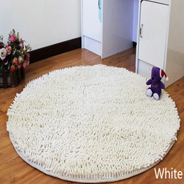 Wholesale Shaggy Bathroom Mats - Free Shipping round big white Washable New Thick chenille Carpet Shaggy Rugs Bath Mat Bathroom Carpet Colours for living bed room antii slip