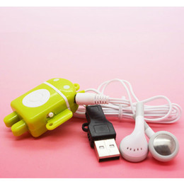 Wholesale Mp3 Player Android Robot - Wholesale- 1pcs lot New Style High Quality Mini Android Robot MP3 Music Player Gift MP3 Players Support TF Card With Earphone&Mini USB