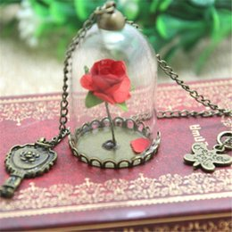 Wholesale Beauty Rose Glass - 12pcs lot Beauty and The Beast Enchanted Rose Inspired Necklace Rose Glass Dome bronze tone mirror charm