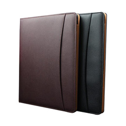 Wholesale Note Pads Pen - Wholesale- A4 Leather Business Notebook Fitted Note Pad Composition Book Calculator Name Card Pen Clip Ring Binder Gift Notebook Hardcover
