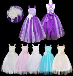 Wholesale Elegant Children Dresses - Ivory White Long sleeves floor length lace elegant flower girl dress children birthday dress with ribbon for wedding party