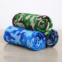 Wholesale Children Workouts - 30*90cm Camouflage Cool Cooling Towel Camping Hiking Gym Exercise Workout Cold Towel Ice Fabric Material Cool Towel