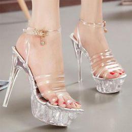a2cef8ea752b Summer Platform sexy clear pvc strappy sandals Shoe for stripper pole dance  Women Large Size High heel Big Pump Lady female Plus